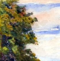 Image of Print, Photographic - Small watercolour landscape painting of fall scene.
