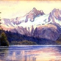 Image of Print, Photographic - Watercolour painting of snow covered mountain landscape, with lake in foreground