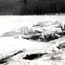 Image of Print, Photographic - View of broken ice sheets on shore of Cultus Lake at Lindell Beach.