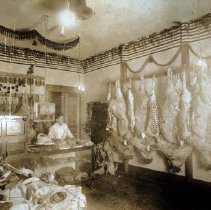 Image of Print, Photographic - Interior view of the Barr & Chambers meat market in Sardis