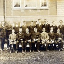 Image of Print, Photographic - Group portrait of young men from the Chilliwack High School matriculation class of 1919.