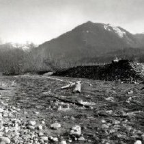 Image of Print, Photographic - View of Chilliwack River with mountains in background.