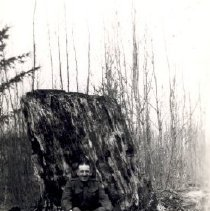 Image of Print, Photographic - Portrait of Sapper William Abraniuk sitting in front of a large tree stump