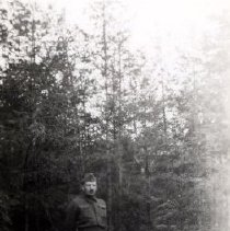 Image of Print, Photographic - Portrait of Sapper William Abraniuk standing in grove of small conifer trees