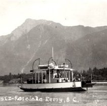 Image of Print, Photographic - Side view of the Agassiz-Rosedale ferry Seawolf on the Fraser River.