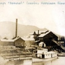 Image of Print, Photographic - View of the steam ship Monarch in front of the large Rat Portage lumber mill.