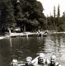 Image of Print, Photographic - View of two couples swimming in Cultus Lake.