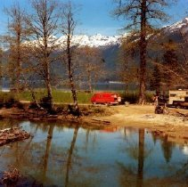 Image of Print, Photographic - View of a recreational camping site at the south end of Chilliwack Lake.
