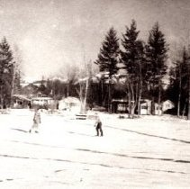Image of Print, Photographic - View of two unidentified skaters on Cultus Lake.