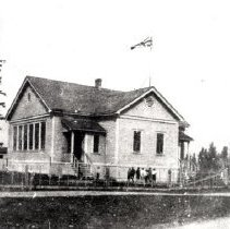 Image of Print, Photographic - Front view of the Camp Slough school