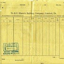 Image of Invoice - British Columbia Electric Railway Invoice