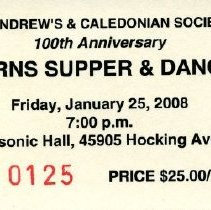 Image of Ticket - St. Andrews and Caledonian Society fonds -- Burns Supper Ticket