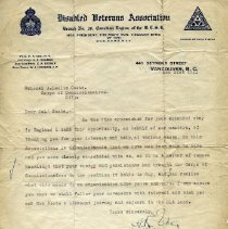 Image of Letter - Disabled Veterans Association Letter to Colonel A.L. Coote