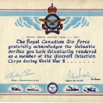 Image of Certificate - R.C.A.F. Certificate of Service to A.L. Coote