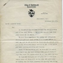 Image of Letter - City of Chilliwack Letter to A.L. Coote