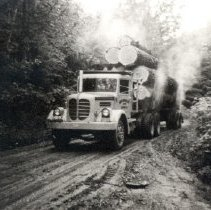 Image of Print, Photographic - Front view of a Hayes 13-12 logging truck of the Bowman Logging company
