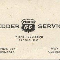Image of Card, Business - Vedder Service Business Card