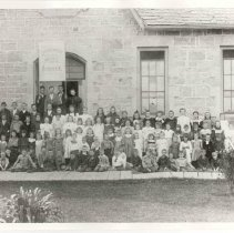 Image of A1952X.485.21 - Rockwood Public School students posed outside school, 1898.