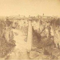 Image of A1952.175.2 - Construction crew at work on David Street Bridge, Elora, ca. 1881-1889.
