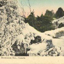 Image of A1977.42.3 - Tinted postcard picture of Frozen Spring, Rockwood, Ont., Canada,  addressed to Mrs. rot. Wallis of Greensville, ON, ca. 1910.