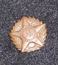 Image of 003.023 - World War I discharge button.  Brass colored surrounded by laurel wreath, surmounted by star with letters U.S. Has shank and button to be inserted in button hole.