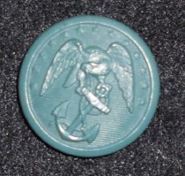 """Image of 044.005.d - Louise Burn's Lady Marine Corps Insignia Button.  d.  Green button, 1"""" dial, eagle with head bent, wings outspread, on anchor with chain entwined in ring at top and part of bottom, line of small stars around top edge; narrow rim around edge."""