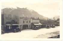 Image of PO.014.0067 - Ellis 3002. Mount Si from Snoqualmie. Railroad Ave in Snoqualmie with Sunset Theatre. Mount Si in background.