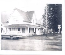 Image of PO.015.0156 - First hospital in North Bend, run by Dr. Burke.  On corner of N Bendigo and 2nd St later Scotts Apts. in 1975.  Torn down in August 1974.  Monkey tree in South side of yard.
