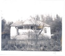 Image of PO.015.0157 - Second Reinig House in 1975. Dionis Reinig home on Reinig Road.  Half circle front porch under dormer roof. Tree and grass in front yard.