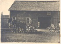 Image of PO.003.0044 - Ike Sabean driving lumber carrier by Maloney's Livery Stable in North Bend  Picture taken by side of Maloney's Livery Stable, North Bend.  Ike Sabean driving lumber carrier with back wheels on extension to haul lumber.  The stable has double doors open and in the street in front of the livery are horses hitched to lumber carrier that only has the running gears.  The front wheels are smaller and there is a long reach to the larger wheels in the back of the wagon.  The brakes can be seen at the back wheels.