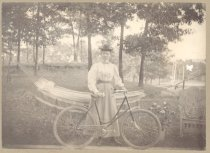 Image of PO.015.0233 - Winnie Elva Brugg Gable with her bicycle at Prospect Park.