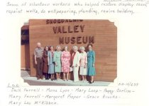 Image of PO.015.0639 - Some of the volunteer workers who helped restore display cases, repaint walls, do wallpapering, rewire building.