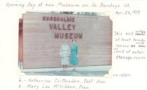 Image of PO.015.0641 - Opening Day at new Museum on S Bendigo St- April 29, 1979- This wall of front facade serves as wall of outer storage room.