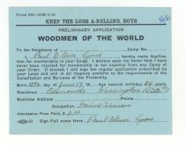 Image of 003.015.c - Membership application for Woodmen of the World.