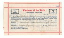 Image of 003.015.e - Membership application for Woodmen of the World.