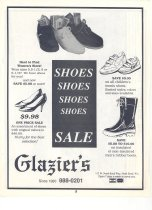 Image of 040.3255 - Drug Center Inc., back of Glazier's Shoe Store Ad, 1980s