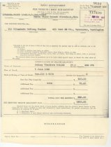Image of 977.008 - Rodney Boalch's Navy Department Public Voucher for 6 Months Death Gratuity Pay.