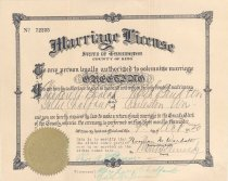 Image of 003.071 - Marriage certificate for Theodore A. Boalch and Goldie Chalfant Performed Oct. 9,1920 by Rev. A.E Greene.