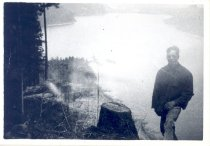 Image of PO.989.0004 - Red was one of my 3rd riggers, a good man! Pacific States Lumber Co logging at south side of Cedar Lake.