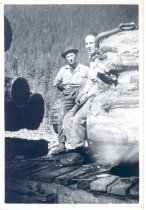 Image of PO.989.0006 - Tom Jurick and Ross Osborne, Pacific States Lumber Co logging at Cedar Lake. Ross was a fraternity brother, and I brought him up here and broke him in 3rd rigging. He stayed 6 weeks, decided the U was better.