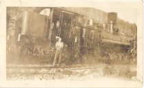 Image of PO.989.0010 - Shay in Camp, 1926. Pacific States Lumber Co logging at Cedar Lake.