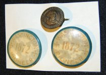 Image of 001.027.A.B.C - William H Taylor's Pioneer buttons, one 1883 and two 1872.  