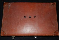 Image of 842.001 - Leather suitcase with initials MPW that belonged to Kristine Sproul's grandfather Maurice William Patten.