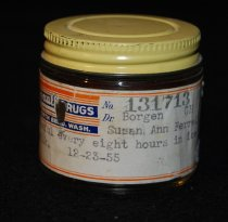 Image of 040.3003 - Edgerly's Drugstore jar prescribed by Dr Borgen. Filled at Edgerly's Rexall Drugs for Susan Ferrell.