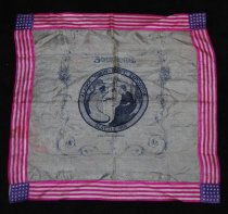 """Image of 077.007 - Souvenir Silk handkerchief Alaska Yukon Pacific Exposition Seattle 1909  White silk with 1.5"""" hemstitched boarder around handkerchief of lavender-red and white stripes with 1.5"""" squares in corners of purple with white stars; 6"""" center circle in center in navy blue and white, has picture of 3 women, kneeling, left one holds steamship; right one holds steam-engine train; center one holds large lump in hands. Background of trees, water and ice flow with snow covered mountains in background with sun rays behind mountains. Around edge of circle is printed in blue """" Alaska-Yukon-Pacific Exposition"""" Seattle 1909. June 1st to October 16th, Seattle Washington USA below circle. George Heinicke and A Schroeder Novelty Printers. Scroll design, square of curled stems, leaves and flowers. Handkerchief 17"""" Square"""