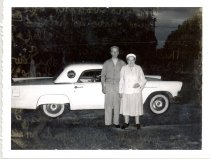Image of PO.986.0055 - WW and J Muriel Brown with Miller's Thunderbird automobile.