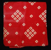 Image of 075.175 - Red silk campaign handkerchief used when Harrison was running for President of the United States. Losing Candidate, 1836. Occupation, Professional Soldier. Party, Whig. Running mate, Francis Granger. Born 1773, died 1841.  Handkerchief belonged to Gene Hill's father.  Diamond shaped pattern, white squares. 9 small squares in each large one with small red dot in center of each small square.  Diagonal pattern of small white squares with red dots between patterns of larger squares. Machine sewn edges.