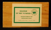 """Image of 886.001 - Commemorative Weyerhaeuser wooden block. 6"""" x 4"""" with inscription DINNER- JULY 15, 1959.  SPONSORED BY SNOQUALMIE VALLEY CIVIC ASSOCIATION."""