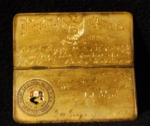 Image of 008.050 - Foresters of America Life Membership metal card and case.