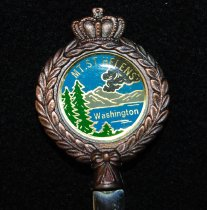 Image of 951.1014 - Mount St Helen's souvenir letter opener.                                                                                                                                                                                                                       Mount St. Helens is notorious for its catastrophic eruption on May 18, 1980, at 8:32 a.m. PDT, the deadliest and most economically destructive volcanic event in the history of the United States. Fifty-seven people were killed; 250 homes, 47 bridges, 15 miles (24 km) of railways, and 185 miles (298 km) of highway were destroyed. A massive debris avalanche triggered by an earthquake measuring 5.1 on the Richter scale caused an eruption that reduced the elevation of the mountain's summit from 9,677 ft (2,950 m) to 8,363 ft (2,549 m), replacing it with a 1 mile (1.6 km) wide horseshoe-shaped crater. The eruption triggered a booming tourism business especially in the 1980s and 1990s of the sale of eruption related souvenirs like this one.  It was very common to find these sorts of items throughout the Valley and state tourist shops.